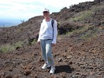 climbing a volcano in the galapagos