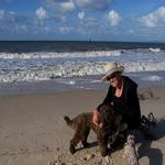 Wilma on the beach with Spencer, Bribie Island 201