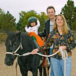 Jen, Ron, Melia and Coal, a sweet pony (2006 photo)
