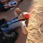 Taking a break, hiking in Arches NP